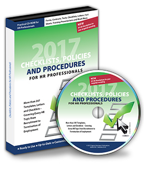 Checklists, Policies and Procedures for HR Professionals 2017 CD-ROM